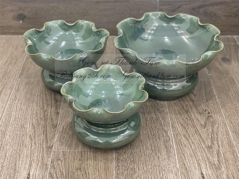Nơi mua chậu thả hoa sen gốm sứ Bát Tràng cao cấp men xanh ngọc chất lượng tốt, giá rẻ