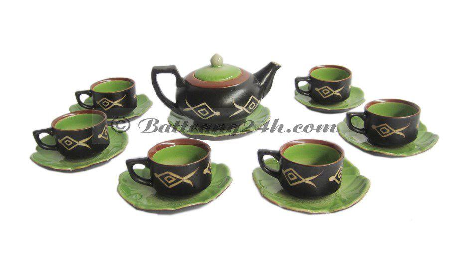 Bộ ấm trà sứ trắng Bát Tràng