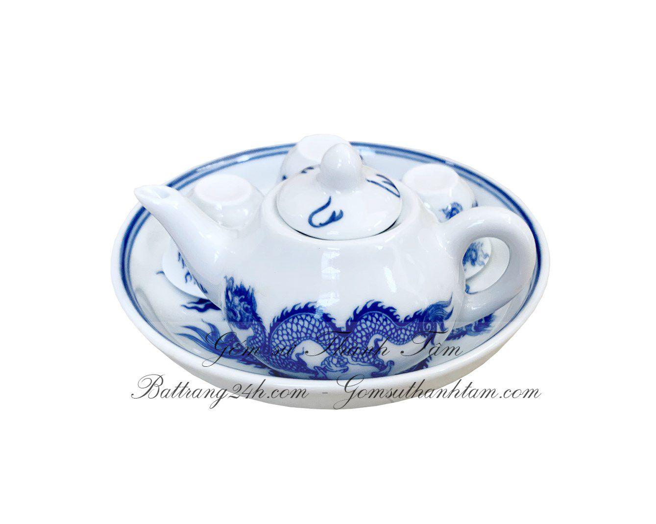 Bán ấm chén trà cúng bằng gốm sứ Bát Tràng, bộ ấm chén mini bằng gốm sứ phong thủy tâm linh cao cấp