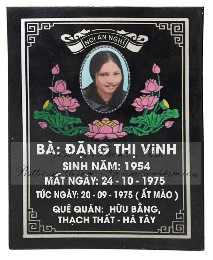 Bán bia mộ bằng gốm sứ Bát Tràng màu đen, bia mộ có in ảnh và in chữ theo yêu cầu