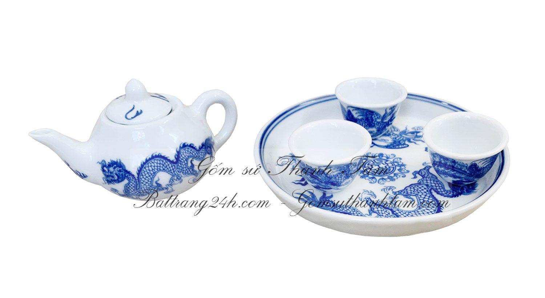 Bán bộ ấm chén uống trà mini đựng trà cúng bằng gốm sứ Bát Tràng men xanh vẽ rồng chầu mặt nguyệt đẹp mắt