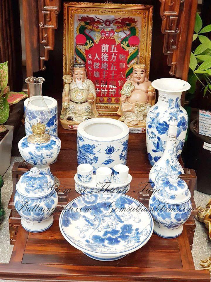 Bộ đồ thờ thần tài men xanh gốm Bát Tràng giá rẻ, chất lượng