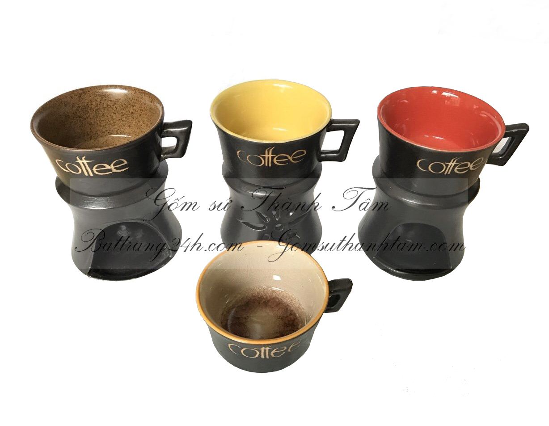 Bán bộ cafe bằng gốm sứ Bát Tràng màu nâu đen chất lượng, bộ cafe đẹp mắt giá rẻ nhất