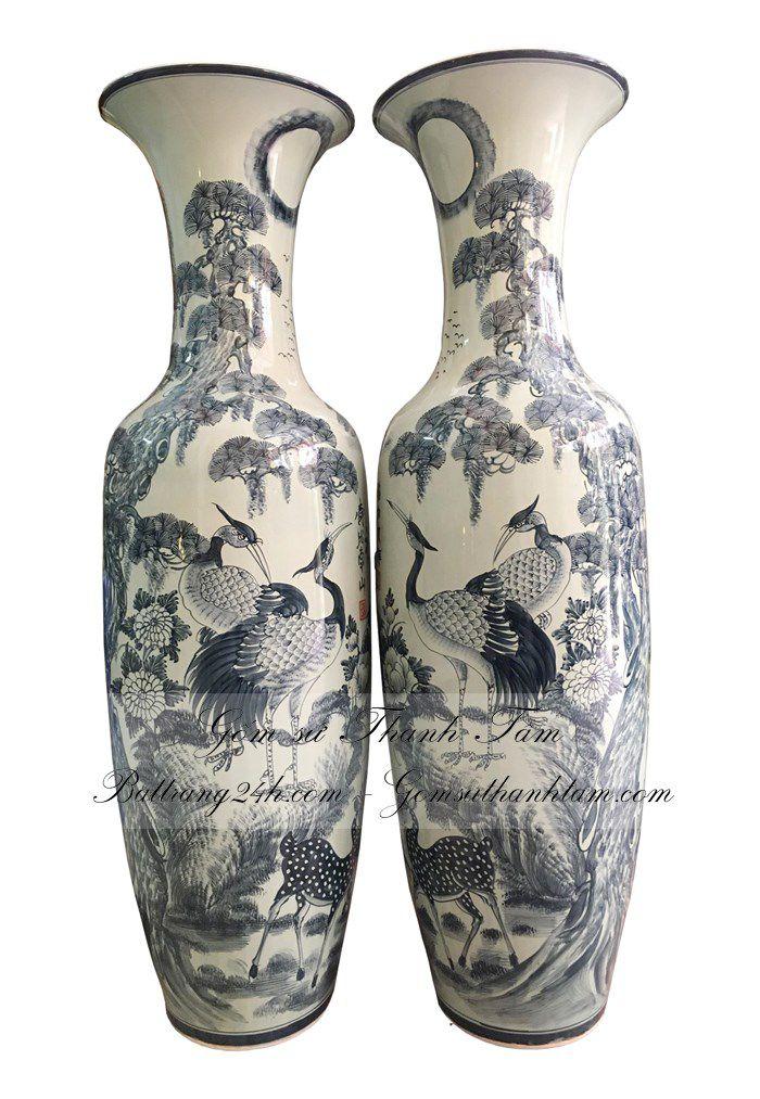 Bán đôi lọ lộc bình gốm sứ bát tràng bày trang trí phong thủy, lọ lục bình chất lượng cao cấp
