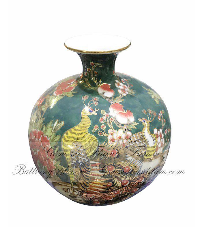 Bình hút lộc phong thủy gốm sứ họa tiết Chim Công