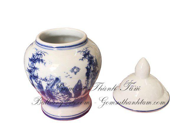 Bộ ba chóe cúng đựng muối gạo nước vẽ rồng chầu mặt nguyệt màu men xanh, bộ ba chóe chất lượng