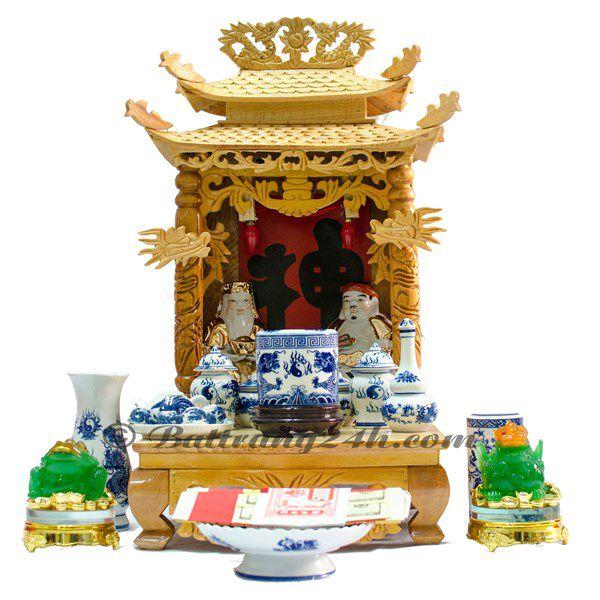 Ban thờ thần tài men xanh vẽ Rồng Chầu Mặt Nguyệt gốm Bát Tràng giá rẻ