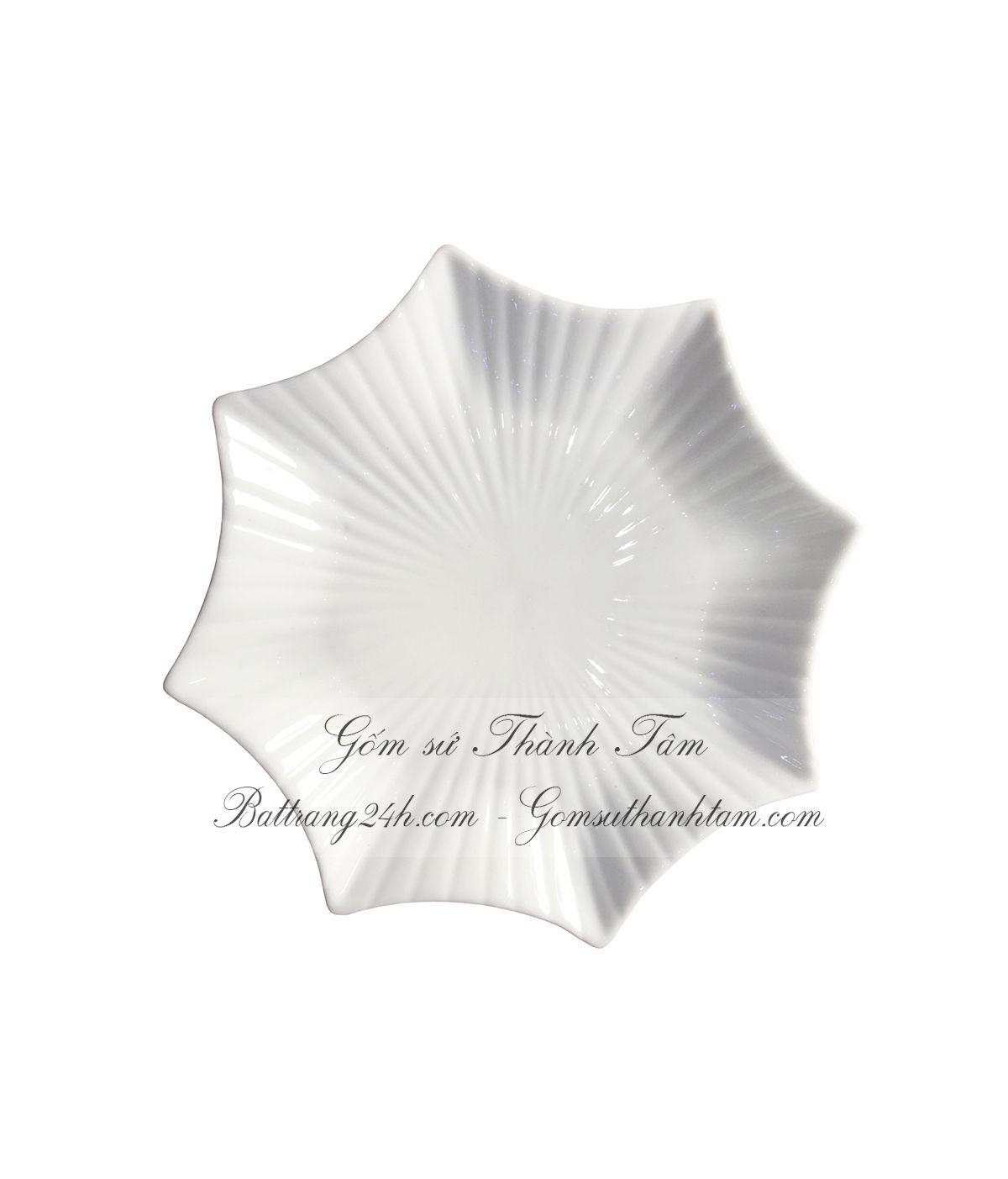 Bộ bát đĩa hình sao màu men trắng sứ cao cấp độc đáo, bộ bát đĩa làm quà tặng, quà biết chất lượng