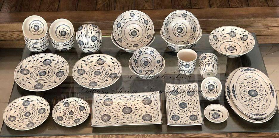 Bộ bát đĩa men rạn cổ hàng gốm sứ Việt Nam, bộ bát đĩa men trắng chất lượng