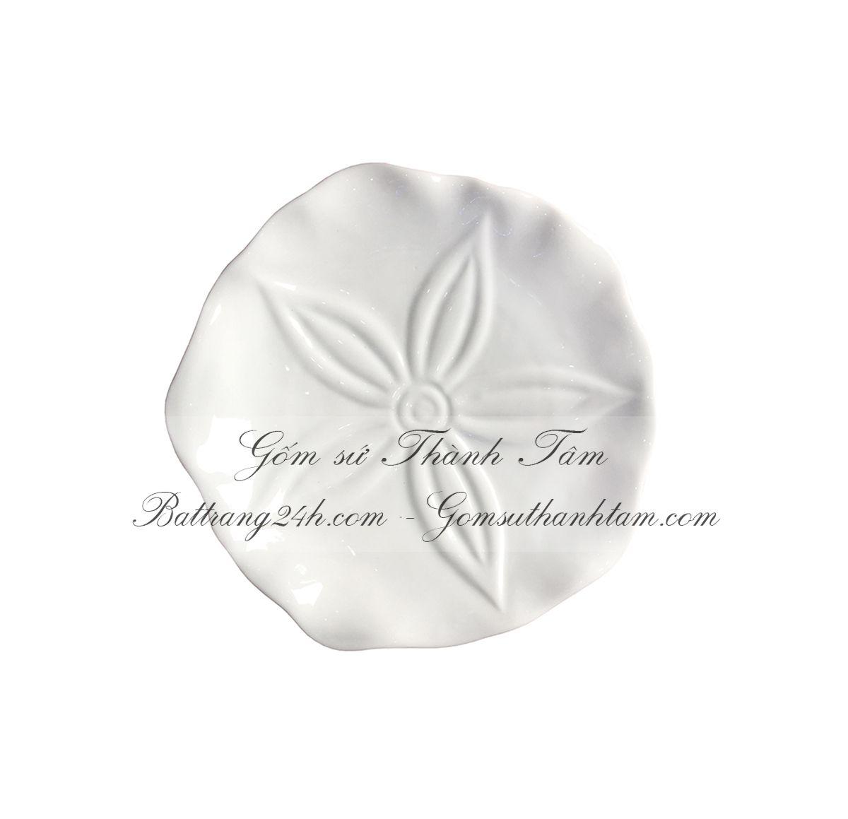 Bộ bát đĩa men trắng tinh cành hoa Bát Tràng gốm sứ Việt Nam, bộ bát đĩa an toàn cho sức khỏe