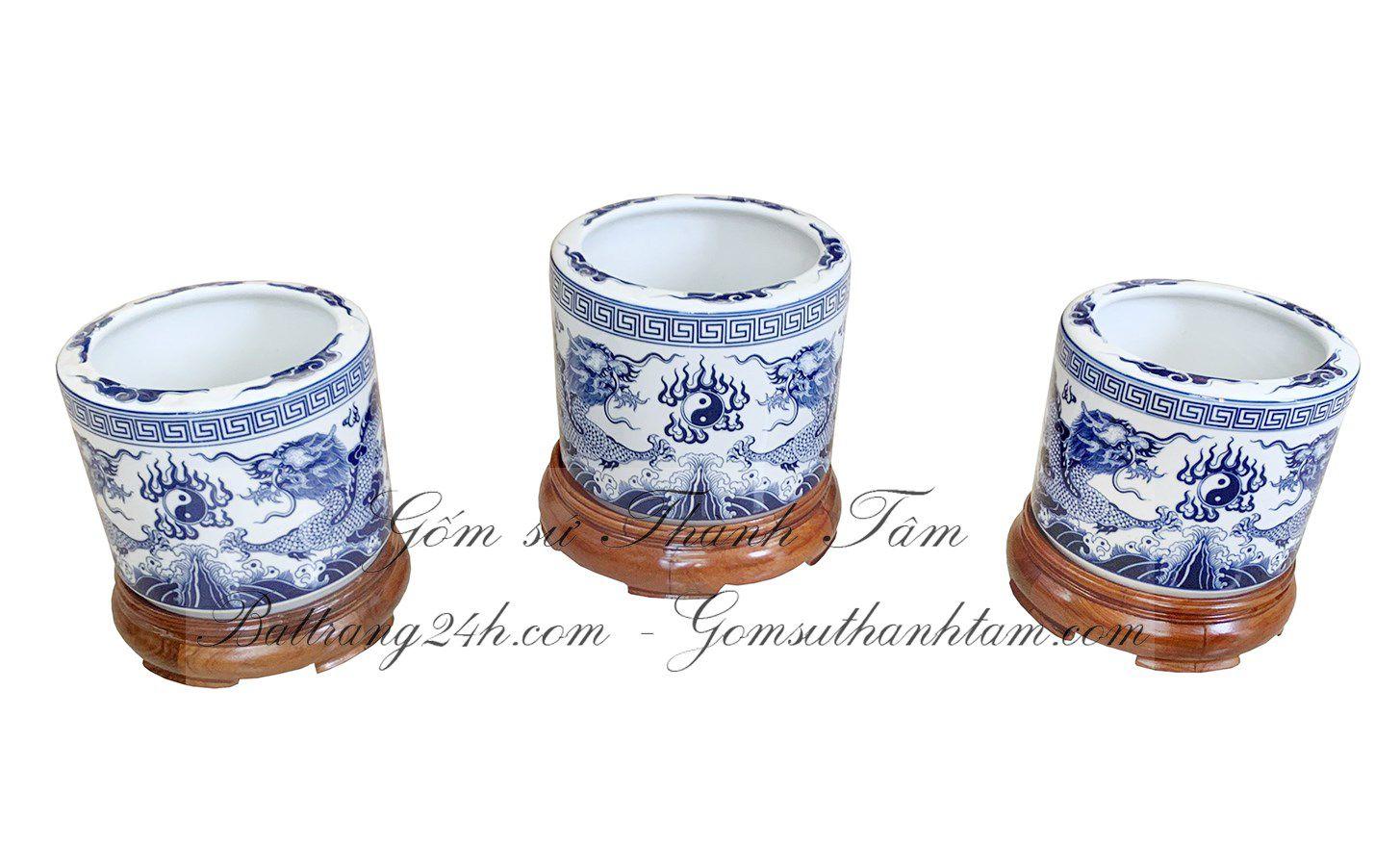 Bộ bát hương thờ cúng gia tiên tam cấp bằng gốm sứ Bát Tràng chất lượng đẹp giá rẻ tốt nhất