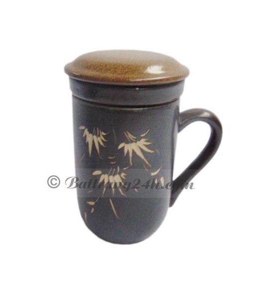 Bộ cốc lọc trà gốm sứ Bát Tràng cao cấp men nâu gốm, cốc lọc trà dùng trong nhà tiện lợi, giá rẻ