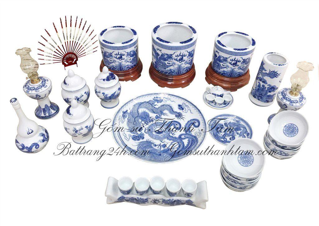 Bộ đồ thờ đầy đủ phụ kiện Bát Tràng men xanh rồng chầu mặt nguyệt, bộ đồ thờ cao cấp chất lượng tốt nhất