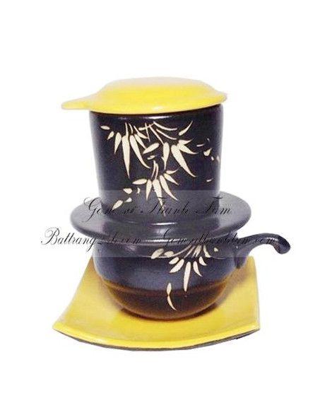 Bộ phin pha café đảm bảo hương vị bằng gốm sứ, phin café nâu gốm trang trí hoa văn đẹp mắt giá rẻ