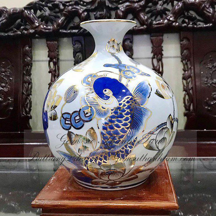Bình hút lộc phong thủy hình cá chép hoa sen vẽ vàng kim cao cấp Bát Tràng chất lượng mã BHL033