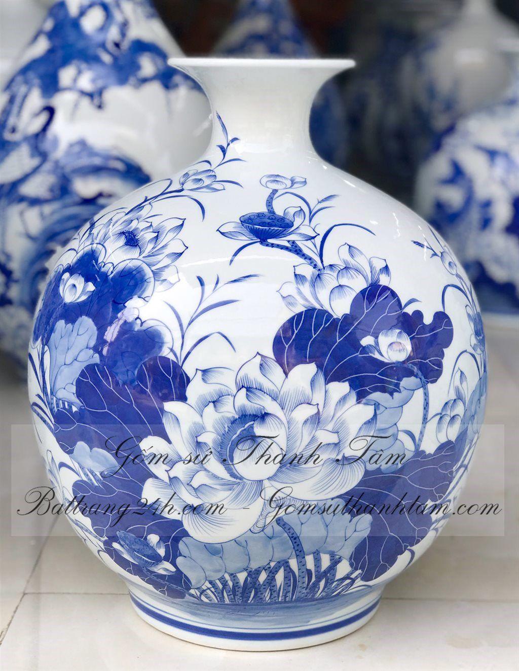 Bình hút tài lộc vẽ hoa sen đẹp mắt mã BHL030