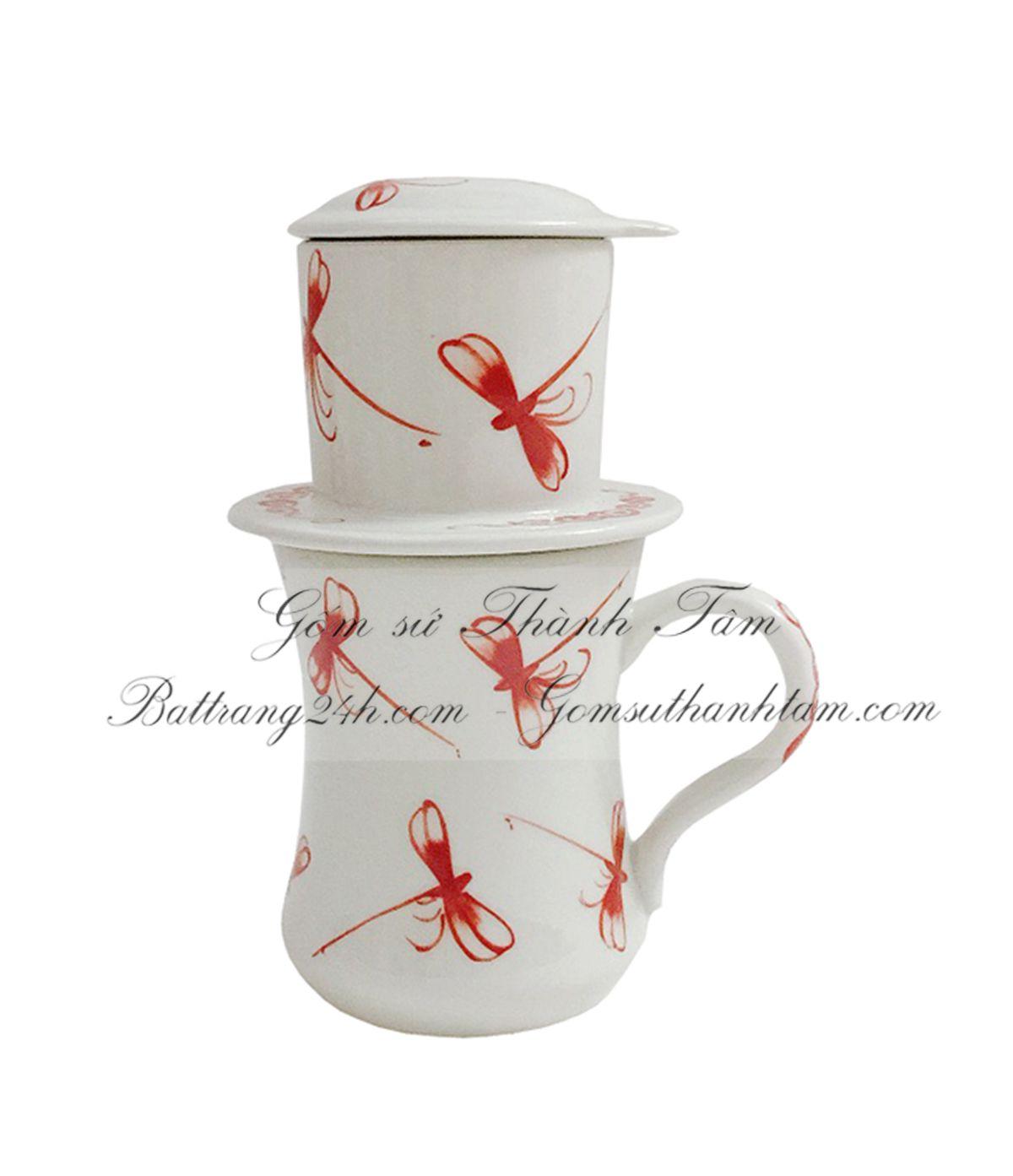 Cung cấp bán buôn tận gốc, bộ phin pha coffee gốm sứ Bát Tràng chất lượng loại cao 13 cm, dung tích ly café lớn 350ml