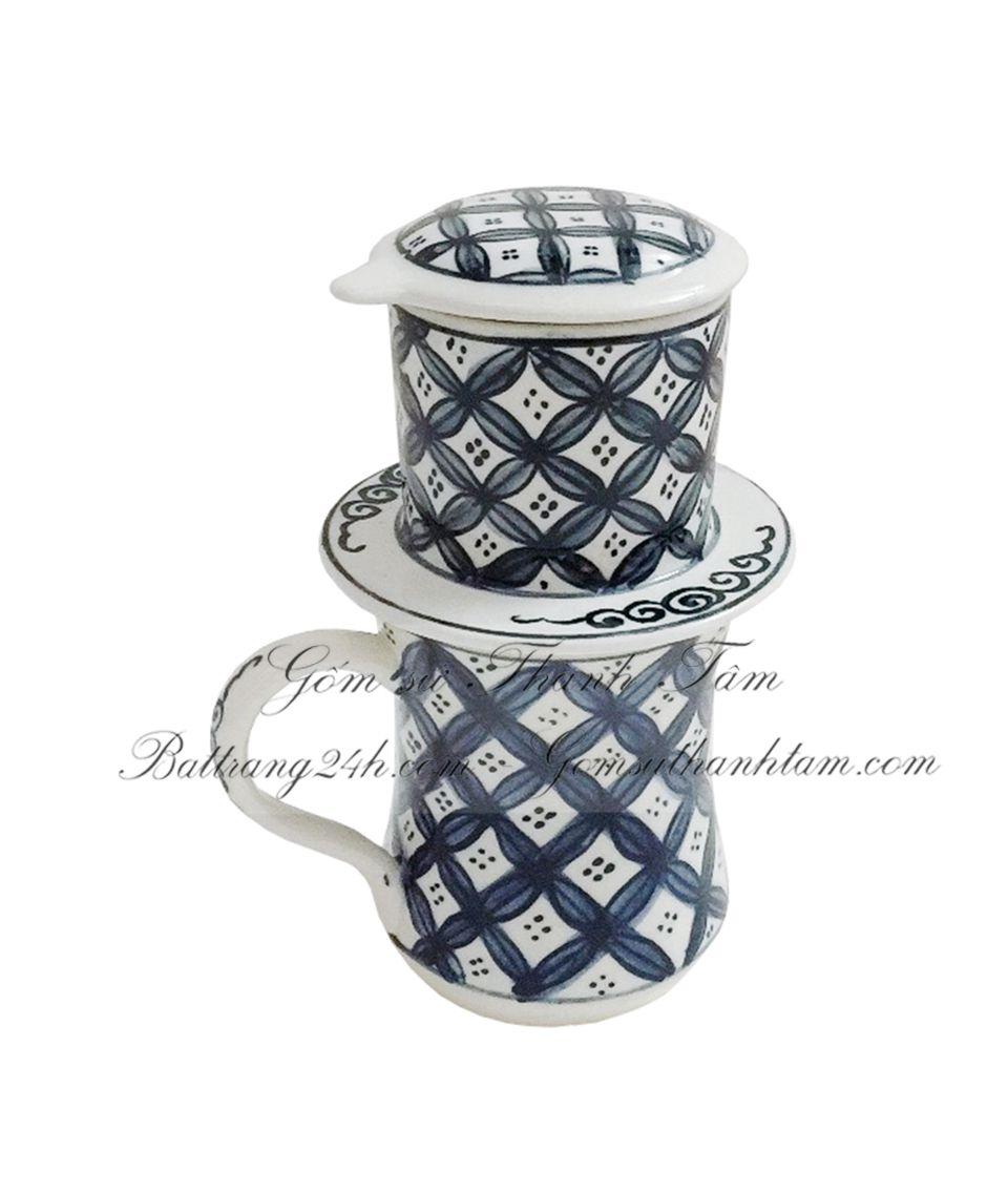 Cung cấp bán buôn tận gốc bộ phin pha coffee gốm sứ Bát Tràng chất lượng loại cao 13 cm, dung tích ly café lớn 350ml