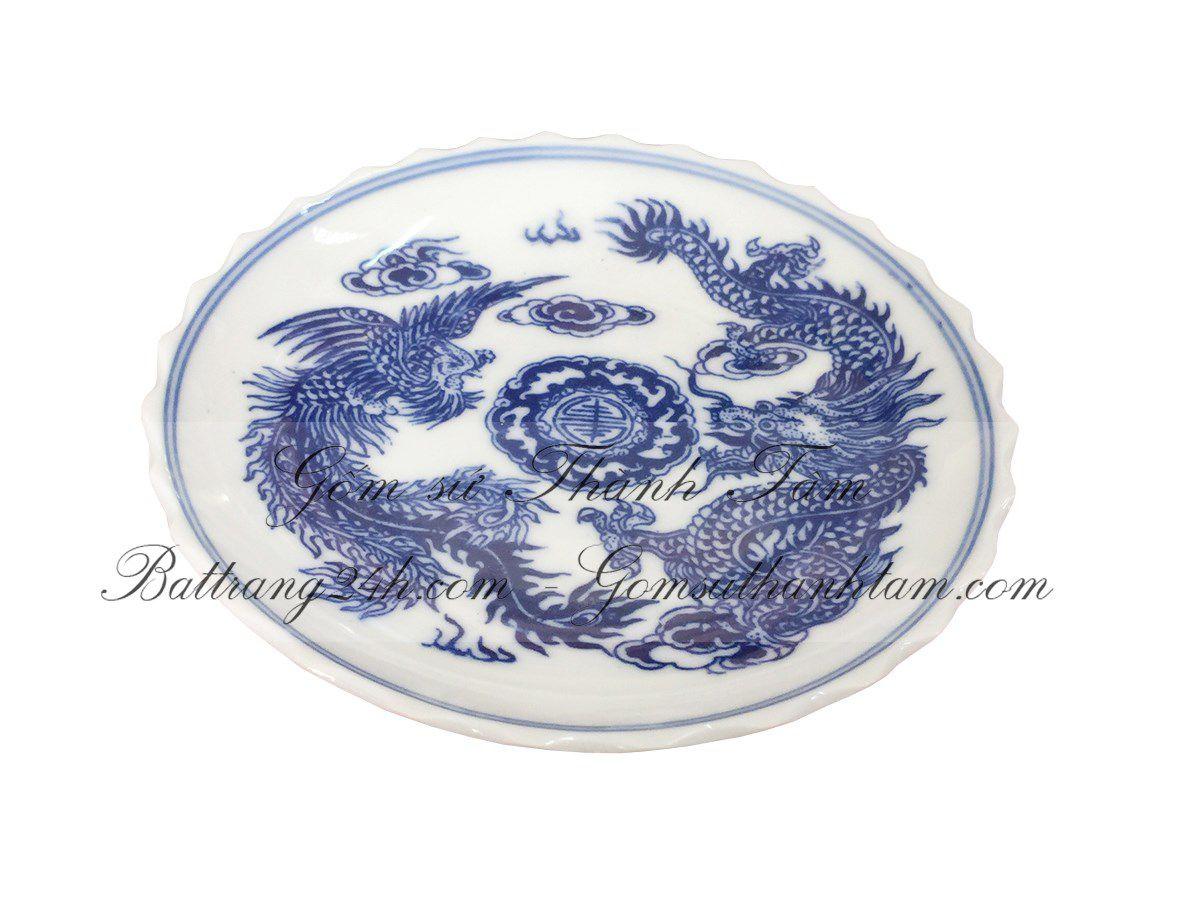 Đĩa đựng trầu cau mini đĩa gốm sứ loại nhỏ vẽ rồng chầu mặt nguyệt, đĩa đựng trầu cau men xanh vẽ rồng chầu