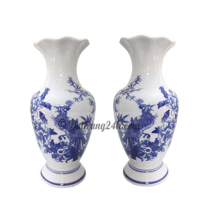 Lọ hoa men xanh vẽ rồng gốm sứ cao cấp giá rẻ