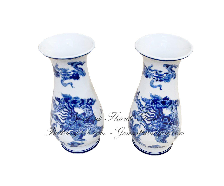 Lọ lục bình loại nhỏ vẽ rồng mặt nguyệt cắm hoa, bộ đồ thờ cúng bằng gốm sứ Bát Tràng ngũ sư chất lượng