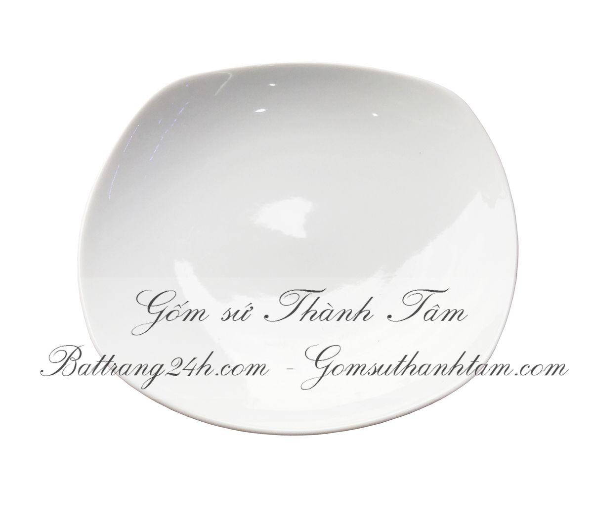 Mẫu đĩa trắng tròn áo màu men trắng tinh cao cấp, bộ bát đĩa giá rẻ in logo giá rẻ