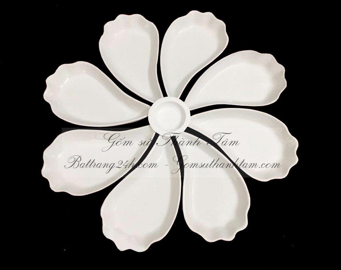 Mua bộ bát đĩa gốm sứ Bát Tràng hoa men trắng tinh cao cấp, bộ bát đĩa gốm sứ chất lượng giá rẻ bền đẹp bát đĩa in ấn logo nhà hàng khách sạn sang trọng