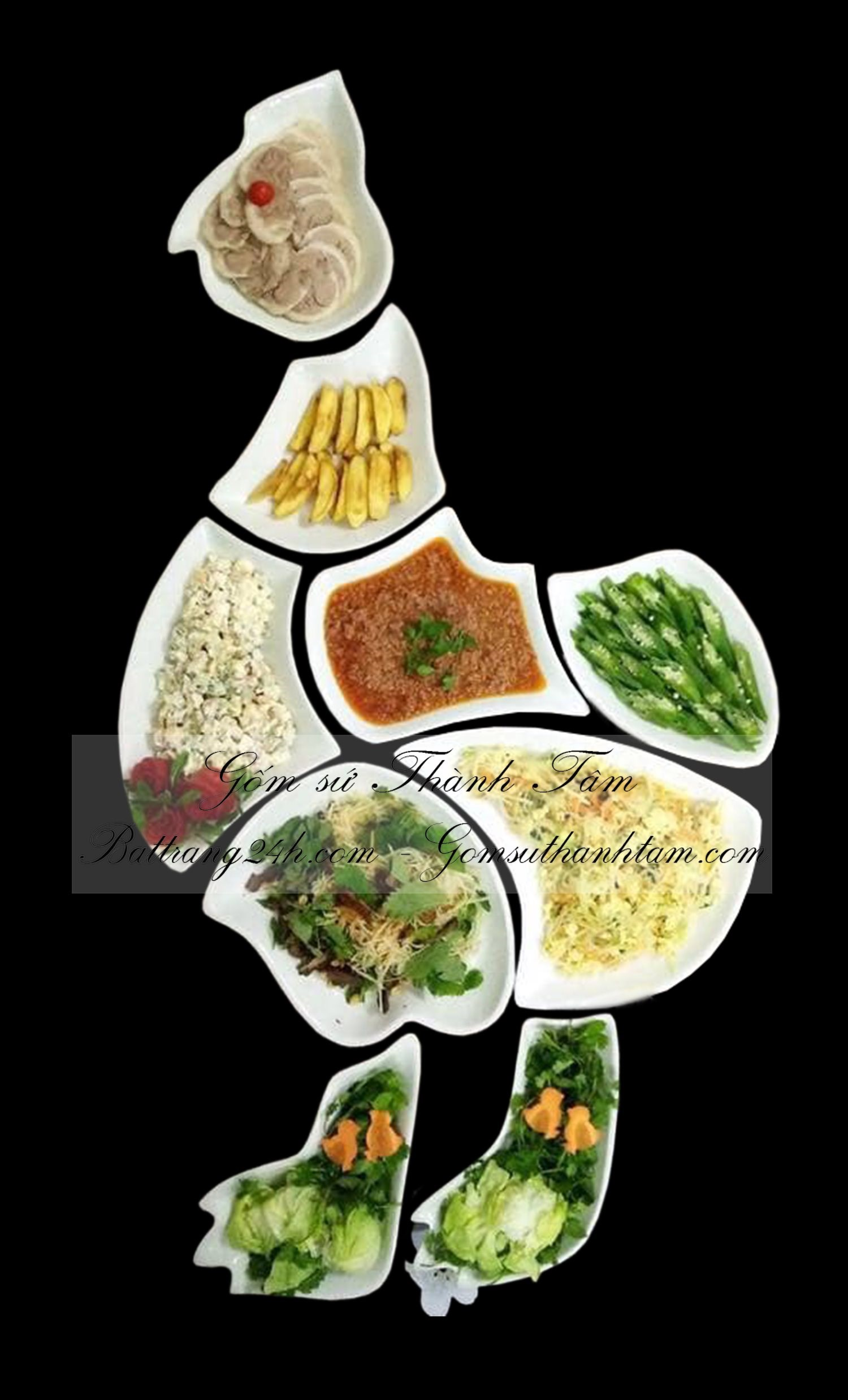 Mua bộ bát đĩa hình con gà, bộ bát đĩa cao cấp bày biện đồ ăn, thức ăn đẹp mắt chất lượng giá rẻ