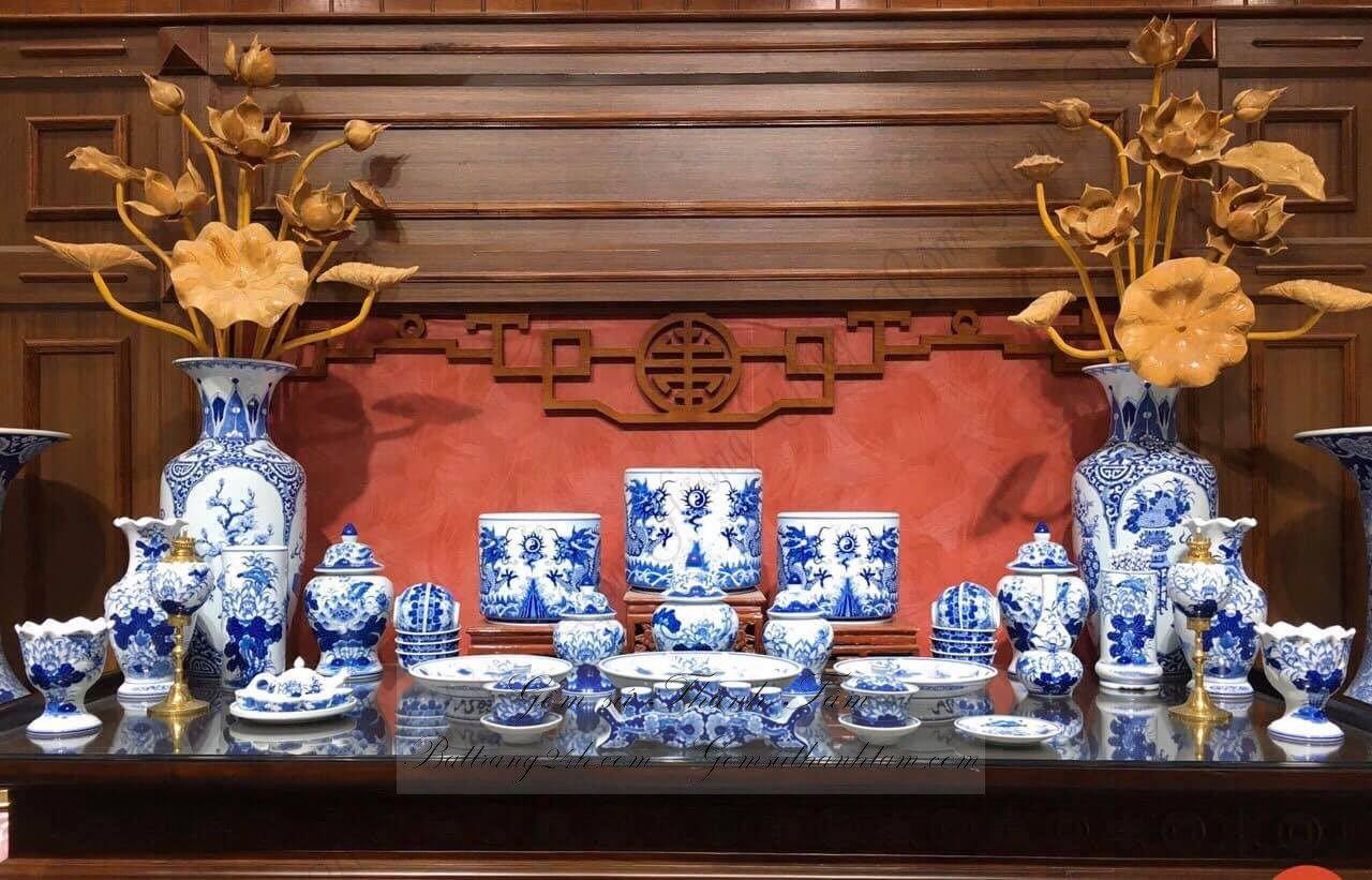 Bộ đồ thờ cúng men xanh vẽ rồng châu mặt nguyệt