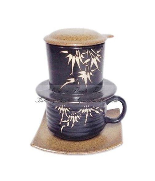 Mua bộ phin café bằng gốm sứ nâu gốm trang trí hoa văn, bộ phin café đẹp mắt giá rẻ