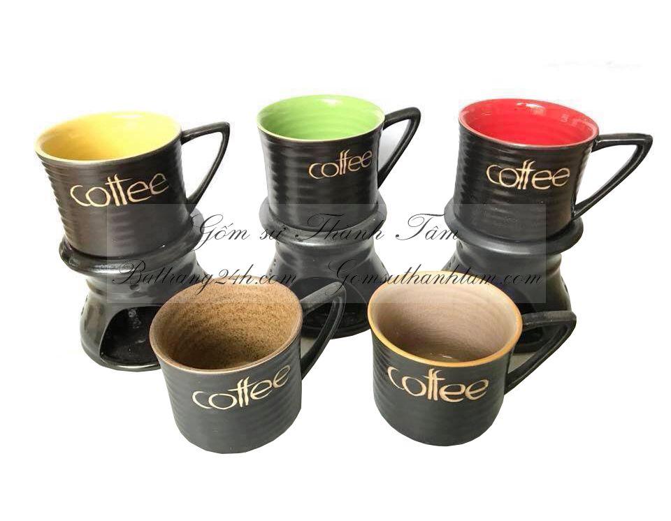 Mua bộ phin đựng cafe, phin lọc cafe bằng gốm sứ Bát Tràng đẹp cao cấp in logo, quán cafe nhà hàng cao cấp