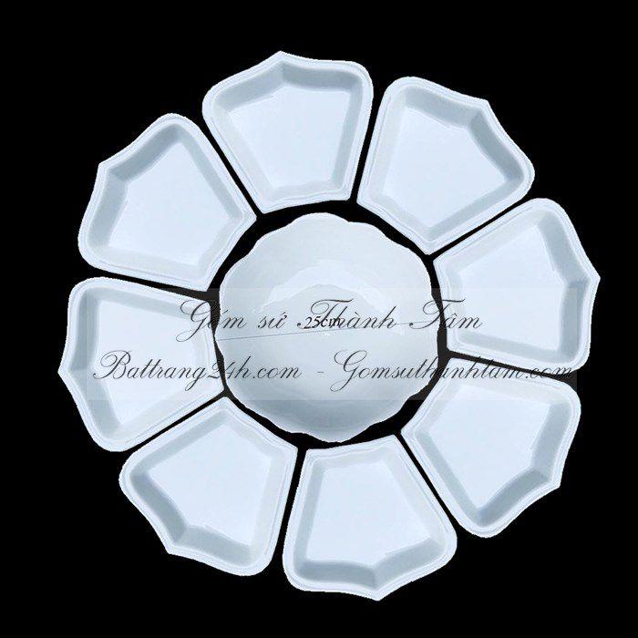Mua khay gốm sứ Bát Tràng chất lượng màu men trắng in logo cao cấp, khay gốm sứ giá rẻ đẹp mắt