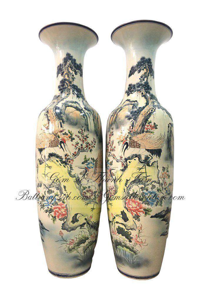 Mua lọ lục bình bát tràng đẹp cao cấp vẽ trơn bằng tay, lọ lục bình giá rẻ sắc nét chất lượng