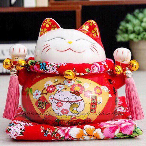Mèo thần tài cao tiết kiệm cao 20 cm màu đỏ may mắn