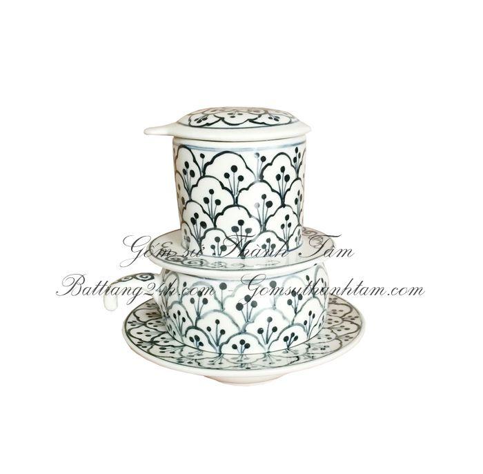 Mua phin lọc café màu men đen gốm sứ Bát Tràng giá rẻ đẹp cao 13 cm, dung tích ly 150 ML