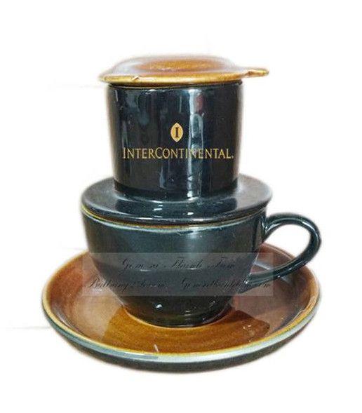 Phin café gốm sứ Bát Tràng cao cấp màu men nâu gốm, giá rẻ