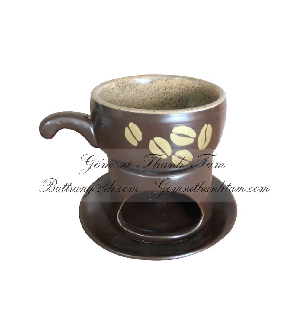 Phin pha cafe bằng gốm sứ Bát Tràng màu men nâu gốm đẹp giá rẻ cao cấp, phin cafe màu nâu gốm