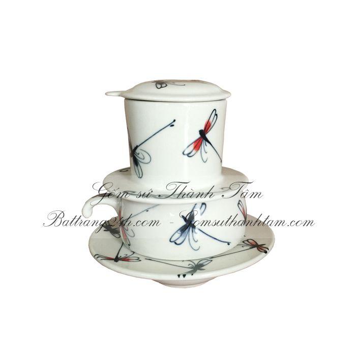 Phin pha café bằng gốm sứ men trắng cao cấp, phin café vẽ cá đẹp mắt giá rẻ